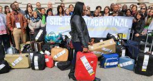 A demonstration in Dublin recently. The suitcases signify women who travel to access abortion. Photograph: Nick Bradshaw