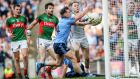 Goalkeeper Robert Hennelly's two bad kickouts that lead to Dublin's first two goals illustrated Mayo's lack of composure when it really mattered.  Photograph: James Crombie/Inpho
