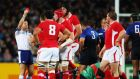 Alain Rolland shows Wales captain Sam Warburton a red card during the 2011 semi-final defeat to France. Photograph: Getty