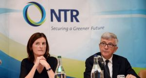 NTR chief executive  Rosheen McGuckian and chairman Tom Roche at the company's EGM in Dublin.  Photograph: Eric Luke / The Irish Times