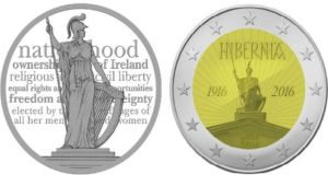 Designs of Emmet Mullins and Michael Guilfoyle's €2 commemorative coins