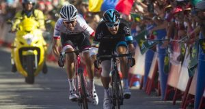 Sky's Irish cyclist Nicolas Roche sprints next to Trek's Spanish cyclist Haimar Zubeldia to win the 18th stage of the 2015 Vuelta Espana cycling tour. Photograph: Getty Images