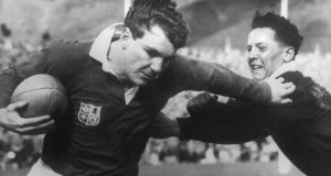 The life of O'Reilly: Tony O'Reilly playing rugby for the Lions in a match against the Junior All Blacks in New Zealand in 1959. Photograph: Central/Getty