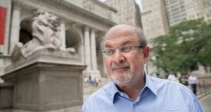 Salman Rushdie, outside the main branch of the New York Public Library. Photograph: Sara Krulwich/The New York Times