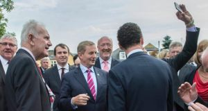 Taoiseach Enda Kenny TD with party members during the Fine Gael Parliamentary Party meeting in The Dunraven Arms Hotel, Adare Co Limerick. Photograph: Brenda Fitzsimons/The Irish Times.