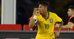 Brazil's Neymar celebrates his second goal against the United States during a friendly  at Gillette Stadium in Foxborough, Massachusetts. Photo: CJ Gunther/PA