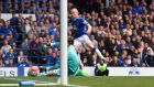 Steven Naismith fires past Chelsea goalkeeper Asmir Begovic to complete his hat-trick at Goodison Park. Photograph: Stu Forster/Getty Images