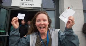 Helen Joyce braved the elements and queued at the 3Arena box office. Photograph: Gareth Chaney/Collins