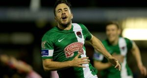Ross Gaynor  celebrates after opening the scoring for Cork City in their FAI Cup quarter-final replay against Derry City at Turner's Cross. Photograph: Donall Farmer/Inpho