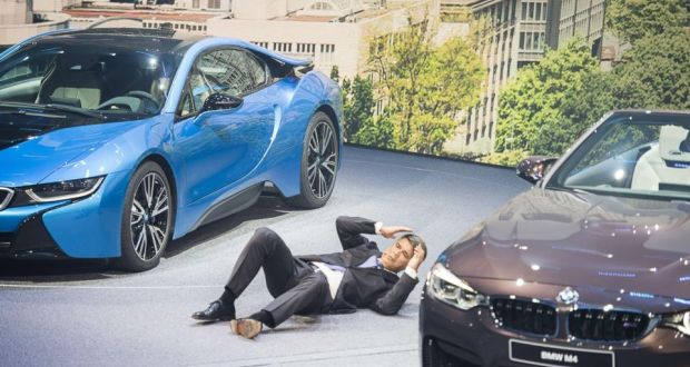 Bmw Chief Executive Harald Krueger Falls To The Ground During Opening Press Conference For