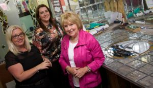 Therese Dowling (right) with her daughters Janet and Joanne at Capital Glass on Lr Clanbrassil Street in Dublin 8. Photograph: Sara Freund / The Irish Times
