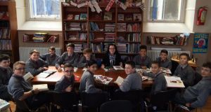 Class act: librarian Annie Brady and a group of pupils in St Paul's CBS Secondary School, North Brunswick St, Dublin