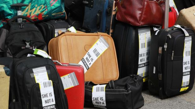 Suitcases signifying the Irish women who travel abroad to access abortion services, outside the Department of the Taoiseach. File photograph: Nick Bradshaw