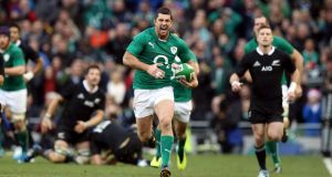 "Rob Kearney scores against the All Blacks: ""It's very hard to find a weakness but they are beatable. Ireland players know this now."" Photograph: Dan Sheridan/Inpho"