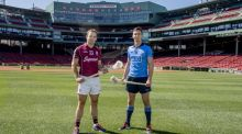 Dublin hurler Mark Schutte and Galway's Dave Collins at a press conference announcing the AIG Fenway Hurling Classic and Irish Festival Announcement, at Fenway Park in Boston, Massachusetts. Photograph: Billie Weiss/Boston Red Sox