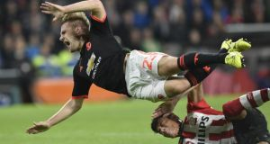 PSV's Hector Moreno tackles Manchester United's Luke Shaw, which left the defender with a suspected broken leg. Photograph: John Thys/AFP/Getty Images
