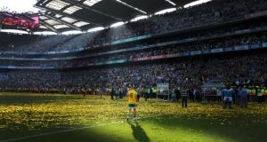 Donegal's Karl Lacey returns to the dressing rooms after All-Ireland final defeat to Kerry in 2014. Photograph Cathal Noonan/Inpho