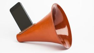 Ceramic and terracotta i-Phone amplifiers by designer Camilla Lee