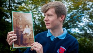 David Moore (16), from Glenties, Co Donegal, whose great-uncle, Anthony Gallagher fought in the Somme. Photograph: Jason McGarrigle