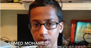 Screengrab from a video of Ahmed Mohamed speaking to media about the incident. Photograph: The Dallas Morning News/Youtube