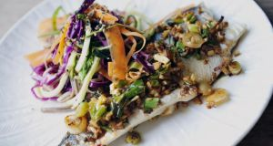 Baked seabass, ginger and spring onion with soba noodle salad. Photograph: Aidan Crawley