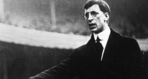 Irish republican leader Eamon de Valera speaking at a packed Fenway Park in Boston in 1919. Photograph: Getty Images/General Photographic Agency