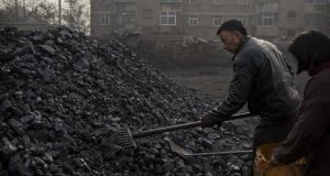 A coal depot, which manufactures coal used for cooking and heating,  in Hebei outside Beijing. Photograph:  Kevin Frayer/Getty Images