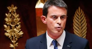 French prime minister Manuel Valls during a parliamentary debate on Wednesday about the migration crisis. Photograph: EPA/Ian Langsdon