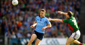 Dublin's Paul Flynn in action against Mayo's Colm Boyle in the All-Ireland SFC semi-final replay at Croke park. Photograph: Cathal Noonan/Inpho