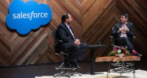 Salesforce chief executive Marc Benioff and Uber chief executive Travis Kalanick on stage at Salesforce.com's Dreamforce conference in San Francisco. Photo: Jakub Mosur Photograph
