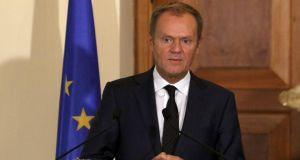 European Council President Donald Tusk has called an EU leaders' summit for next Wednesday. Photograph: Yiannis Kourtoglou/Reuters