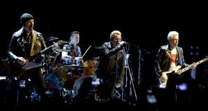 "U2 on their ""iNNOCENCE + eXPERIENCE"" tour, September 2015. Photograph: Paul Bergen/AFP/Getty Images"