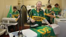 Mary Cournane, Margaret Mary O'Sullivan, Mary O'Sullivan and Mary B Horgan at Cahirciveen Social Service Centre in Co Kerry, getting supporters' jerseys ready. Photograph: Valerie O'Sullivan