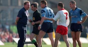 Dublin manager Pat O'Neill has words with referee Paddy Russell after Charlie Redmond gets sent off during the All-Ireland final between Dublin and Tyrone in 1995. Photograph: Lorraine O'Sullivan/Inpho