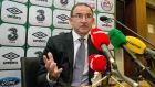 Martin O'Neill speaks to the media at FAI headquarters where he named his provisional squad for Ireland's Euro 2016 qualifying ties with Germany and Poland. Photo: Morgan Treacy/INPHO