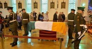 Members of the public pay their respects to Commandant Thomas Kent at St. Michael's Garrison church, Collins Barracks. Photograph: Alan Betson/The Irish Times