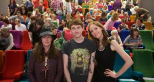 Authors Kim Hood, James Dawson and Louise O'Neill at the recent Children's Books Ireland conference