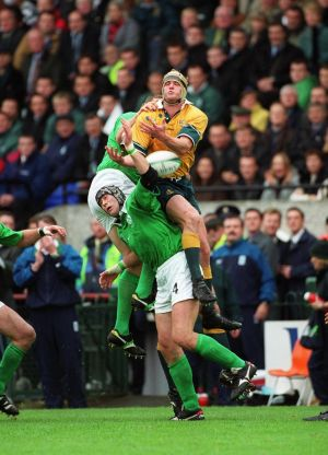 Less accommodating were the Australians.  Ireland lost 23-3 in their second group game. David Giffin takes possession over Paddy Johns. Photograph: Inpho/Patrick Bolger