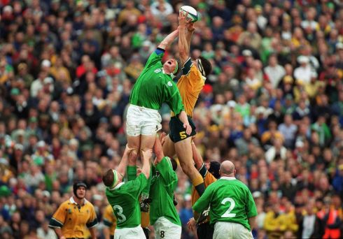 Australia captain John Eales competes at the lineout with Malcolm O'Kelly. Photograph: Inpho/Patrick Bolger.