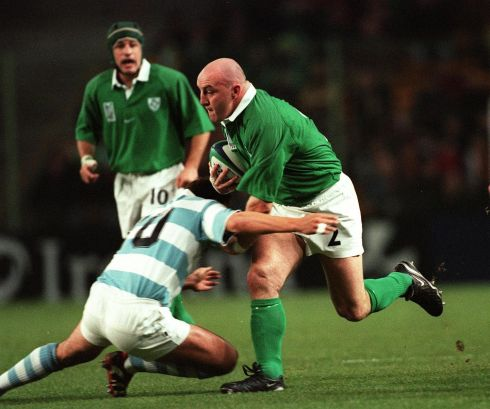 In the quarter-final play-off, Ireland and captain Keith Wood met Argentina in Lens. Photograph: Patrick Bolger/Lens