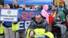 "Michael McCabe: ""Some people can't even be at this protest because they don't have transport or assistance to get here. So I'm protesting on their behalf too.""  Photograph: Nina Byrne/Centre for Independent Living"