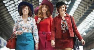 Actors Karen McCartney, Lisa Lambe and Sophie Jo Wasson re-enact a scene from Train at Connolly station in Dublin