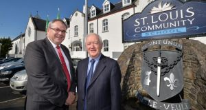 Key employer: principal Cahil Doherty and former vice-principal Hugh McTighe at St Louis Community School in Kiltimagh. Photograph: Alan Betson