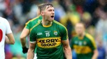James O'Donoghue celebrates during the final moments of Kerry's semi-final against Tyrone. Photograph: Cathal Noonan/Inpho