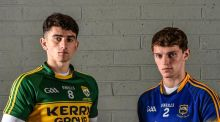Kerry football captain Mark O'Connor and Tipperary captain Danny Owens. Photograph: Ramsey Cardy