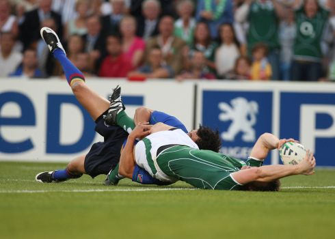 Brian O'Driscoll is one of three try scorers against the Namibians. Photograph: Inpho/Billy Stickland