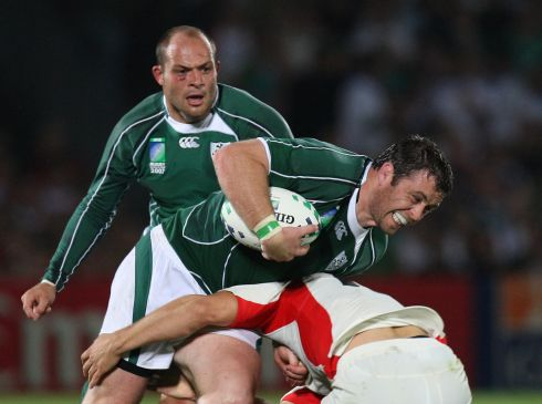 Ireland run out 14-10 winners. Marcus Horan is tackled, supported by Rory Best. Photograph:  Inpho/Billy Stickland