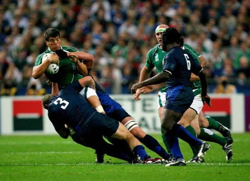 Next up in group D were France. Donncha O'Callaghan is tackled by Pieter De Villiers and Jerome Thion. Photograph: Inpho/Dan Sheridan