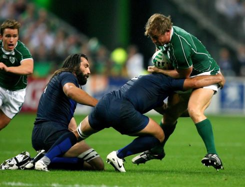 Another difficult day against the French as Ireland lose out 25-3. Jerry Flannery gets tackled by Raphaael Ibanez. Photograph: Inpho/Dan Sheridan