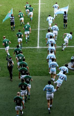 The teams arrive on the pitch for the Ireland v Argentina game. Photograph: Inpho/Dan Sheridan